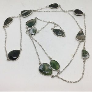 Moss Agate Long Silver Necklace